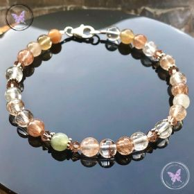 Rutilated Quartz Bracelet with Swarovski Crystals
